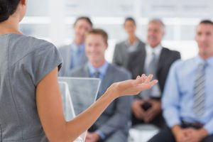 Businesswoman doing conference presentation in meeting room-1